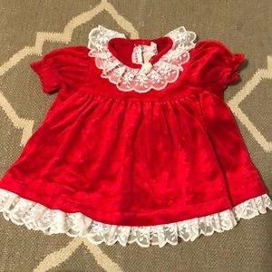 Vintage velour red New York kids dress 12 months